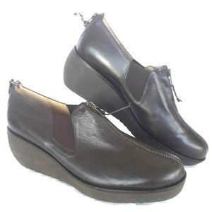 NEW Womens Wedge Heel Loafer 11.5 M Brown Leather
